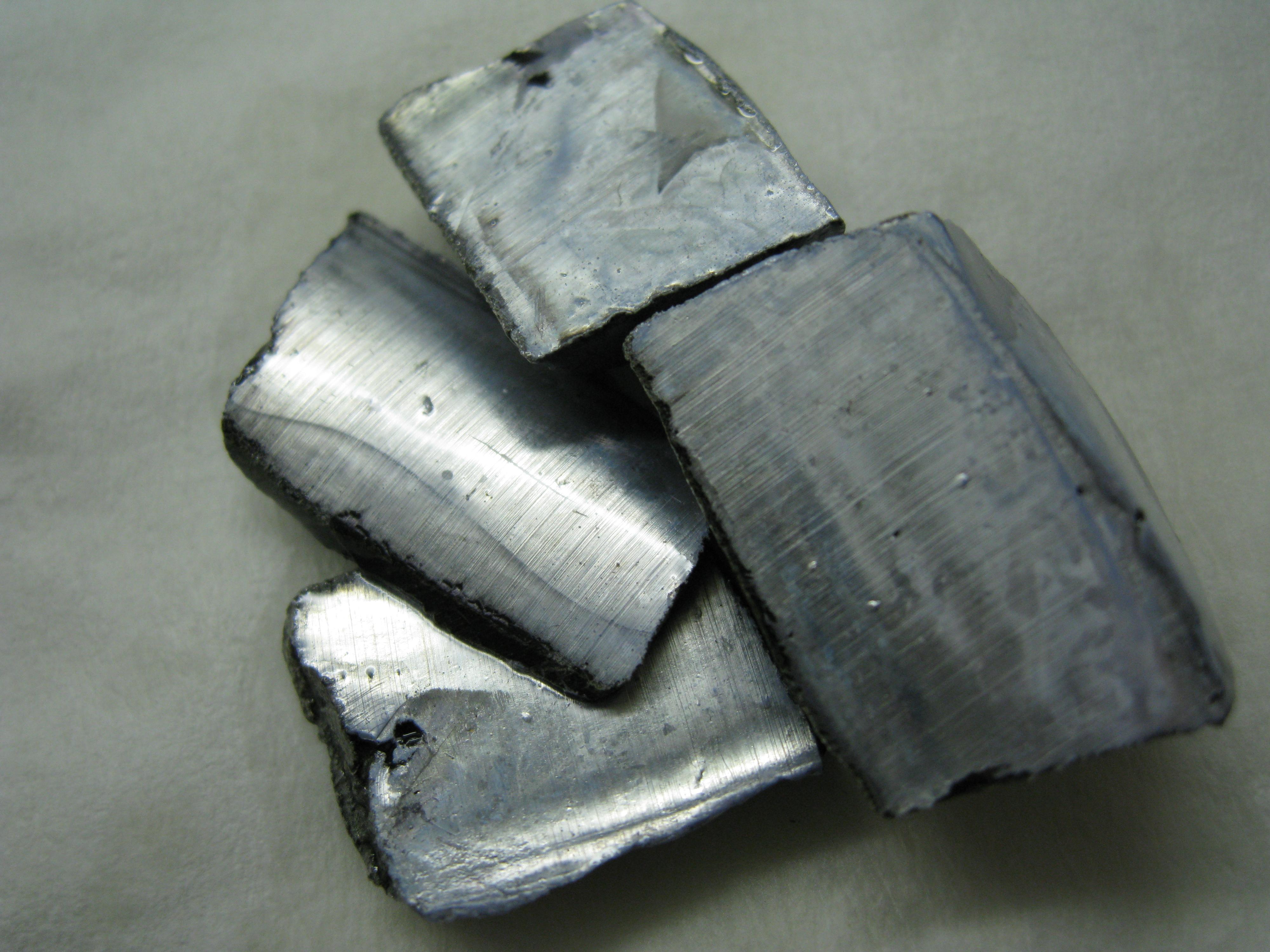 Blocks of dull colored metals.