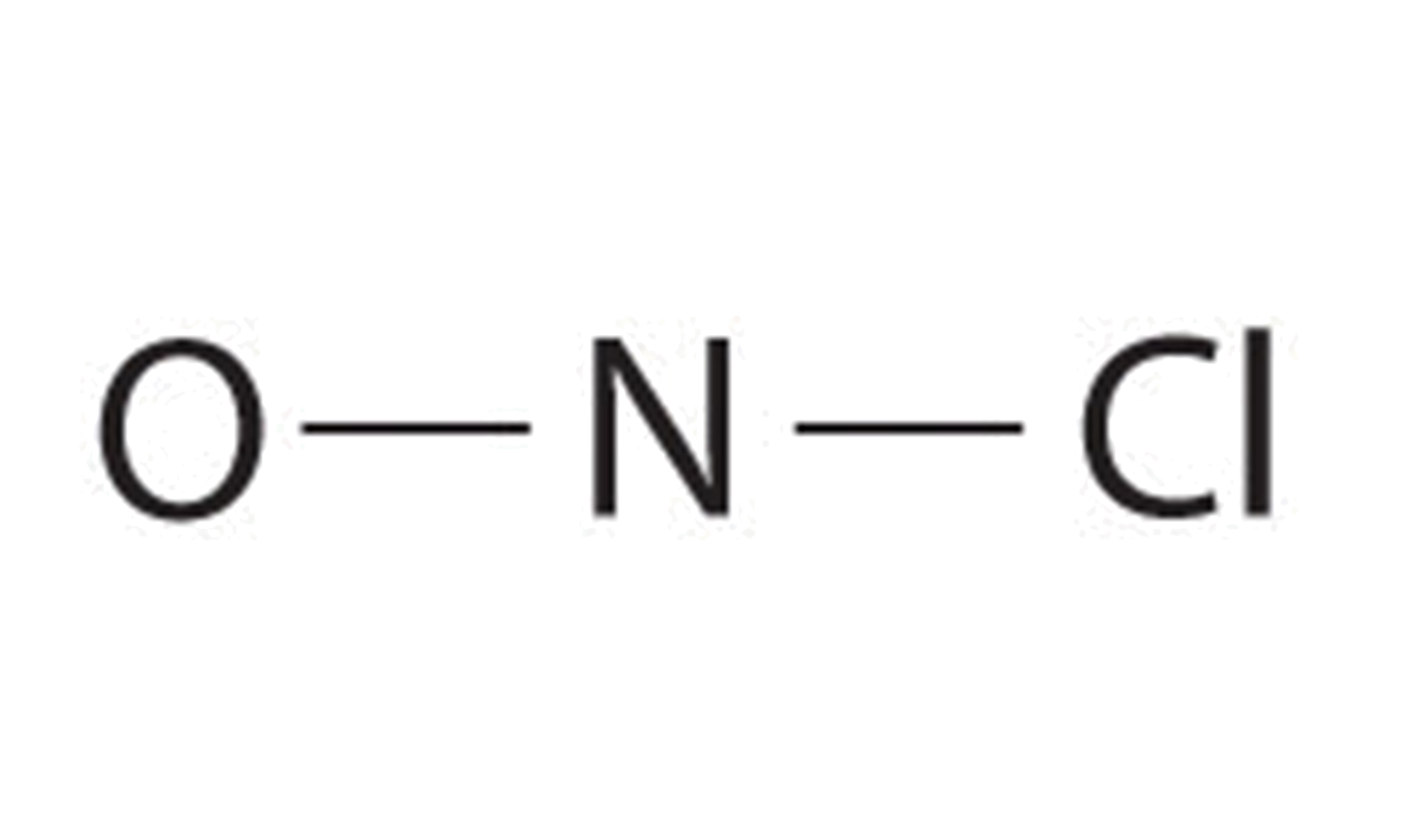 nitrosyl chloride with only bond lines drawn.