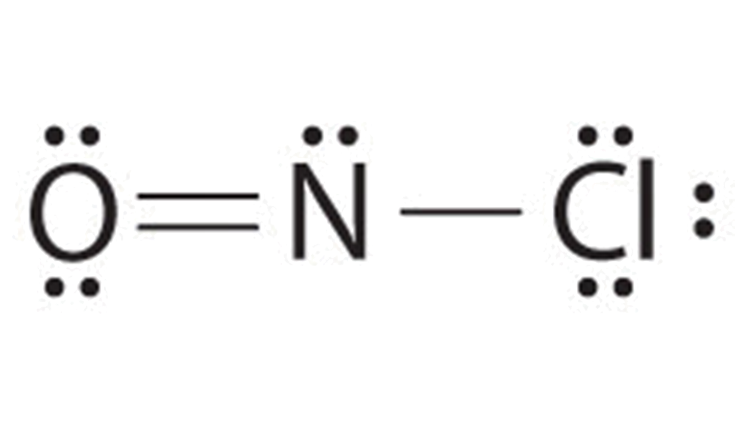 Final lewis dot structure for nitrosyl chloride,